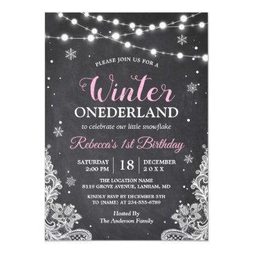 winter onederland chalkboard baby first birthday invitations