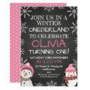 winter onederland chalkboard birthday invitations