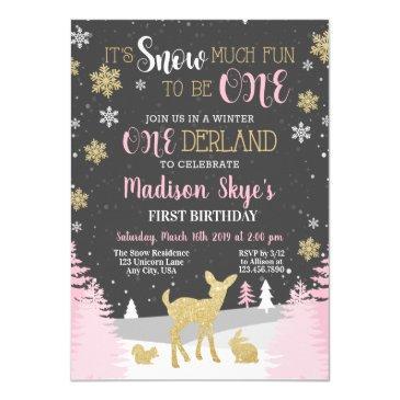 winter onederland first birthday snow much fun invitation