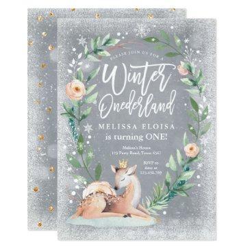 winter onederland floral silver woodland birthday invitation