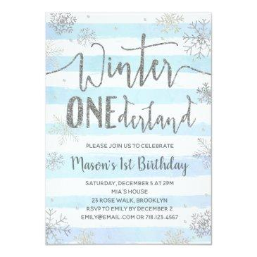 winter onederland invitation blue silver snowflake