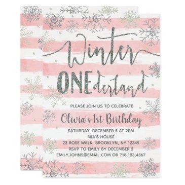 winter onederland invitations girls pink silver