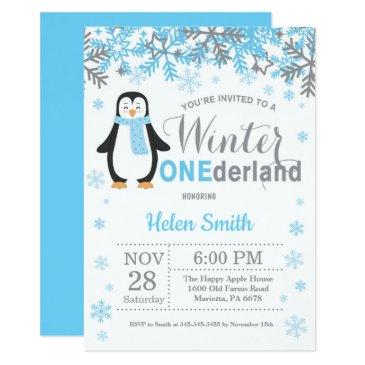 winter onederland penguin boy 1st birthday invitation