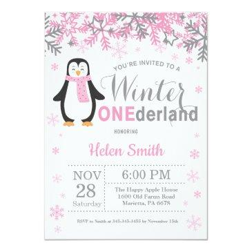 winter onederland penguin girl 1st birthday invitation