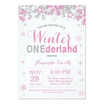 winter onederland pink silver girl 1st birthday invitations