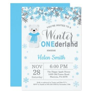winter onederland polar bear boy 1st birthday invitation