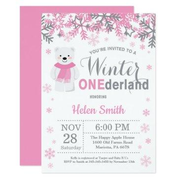 winter onederland polar bear girl 1st birthday invitation