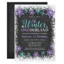 winter onederland purple chalkboard 1st birthday invitations