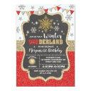 winter onederland red gold snowflake 1st birthday invitation