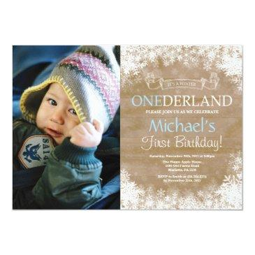 winter onederland rustic boy 1st birthday photo invitations