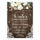 winter onederland rustic floral baby 1st birthday invitation