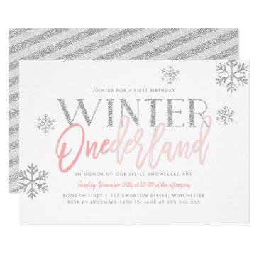 winter onederland silver glitter pink 1st birthday invitations