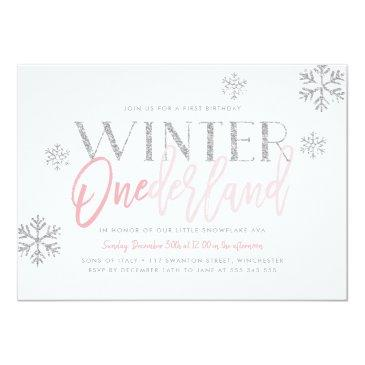 Small Winter Onederland Silver Glitter Pink 1st Birthday Invitation Front View