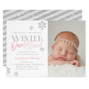 winter onederland silver pink 1st birthday photo invitation