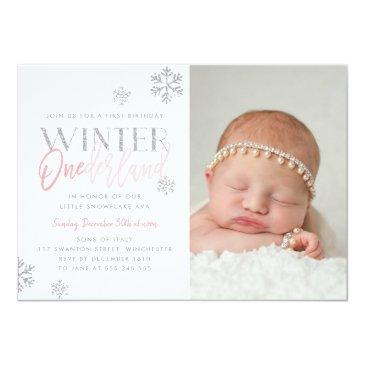 Small Winter Onederland Silver Pink 1st Birthday Photo Invitation Front View