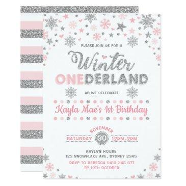 winter onederland silver pink snowflake birthday invitation