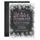 winter onederland snow chalkboard 1st birthday invitations