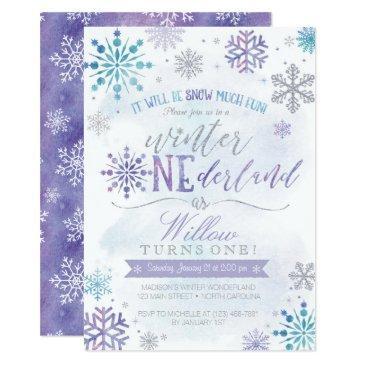 winter onederland snowflake birthday invitation