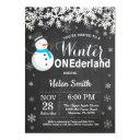 winter onederland snowman boy 1st birthday invitation