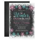 winter onederland teal chalkboard 1st birthday invitation