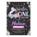 winter onederland unicorn 1st birthday invitation
