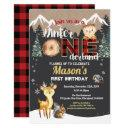winter onederland woodland animal first birthday invitation