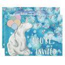winter polar bear birthday party invitation