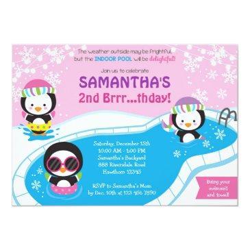 winter pool birthday invitations / pool invitations