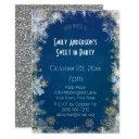 winter silver gold blue sweet 16 birthday invitations