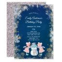 winter snowflake girl birthday party invitations