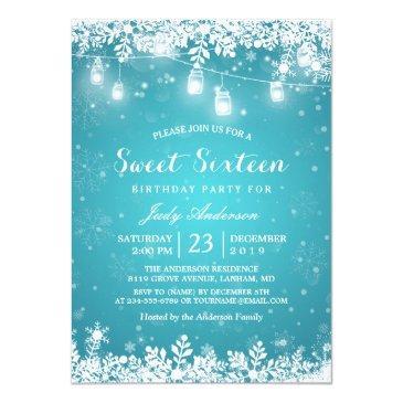 winter sweet 16 sixteen turquoise snowflake lights invitation