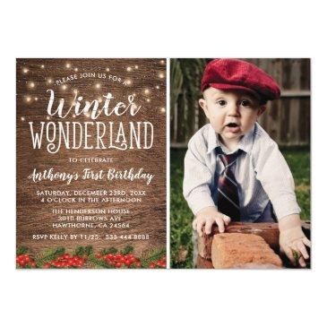 winter wonderland rustic photo birthday party invitations