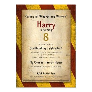 wizard school themed birthday party invitation