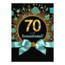 womans 70th birthday party teal blue and gold invitations