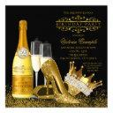womans black gold high heels princess birthday invitations