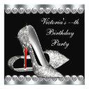 womans elegant black birthday party invitations
