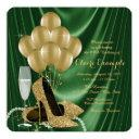 womans emerald green and gold birthday party invitation
