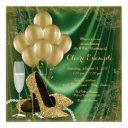 womans green and gold birthday party satin glitter invitation