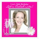 womans photo hot pink birthday party invitations