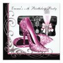 womans pink and black birthday party invitation