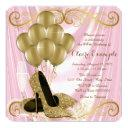 womans pink and gold birthday party glamour satin invitation