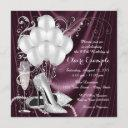 womans plum purple birthday party luxe invitation