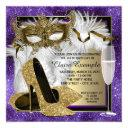 womans purple and gold masquerade party invitation