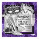 womans purple and silver birthday masquerade party invitation