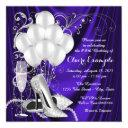 womans purple and silver birthday party luxe invitations