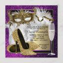 womans purple gold masquerade party invitations