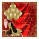 womans red and gold birthday party satin glitter invitation