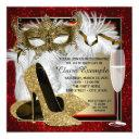 womans red and gold masquerade birthday party invitations