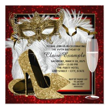 womans red and gold masquerade party invitations