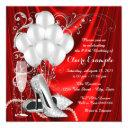 womans red and silver birthday party luxe invitations